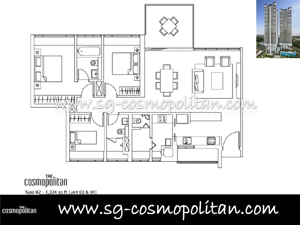 3 Bedroom The Cosmopolitan Singapore Condo Condominium